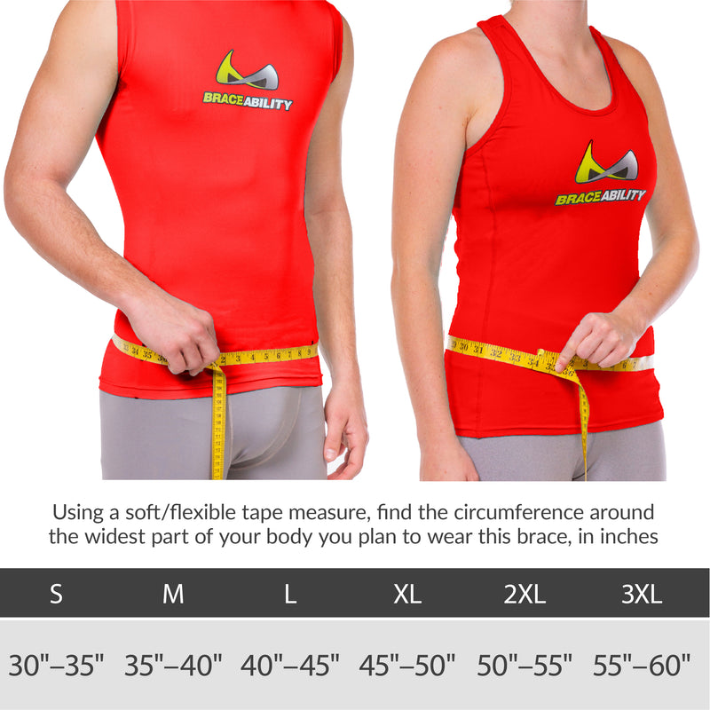 Sizing chart back support for golf or tennis. Available in sizes S-3XL.
