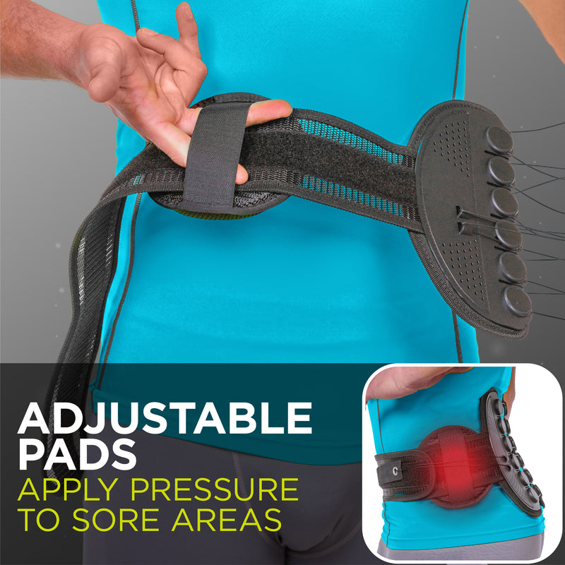 Remove both pads on sacroiliac belt for a more flexible, streamlined fit
