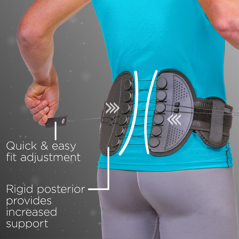 SI joint brace as a one-handed pulley system for quick and easy fit adjustment