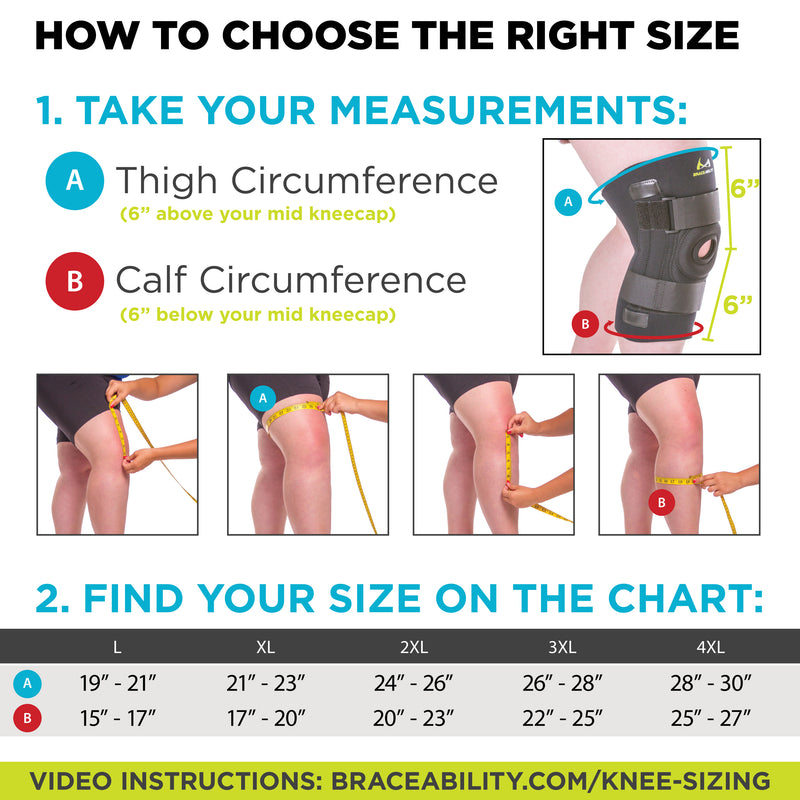 Sizing chart for knee brace for large thighs. Available in sizes L-4XL.