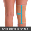 The ten inch tall elastic cotton knee sleeve goes from your calf to thigh