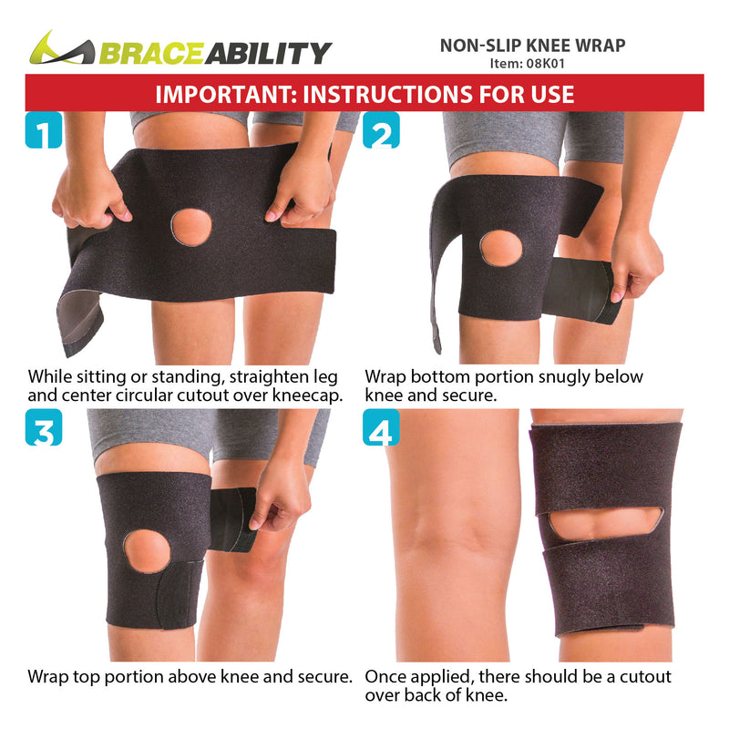 How to put on the non slip knee wrap instruction sheet