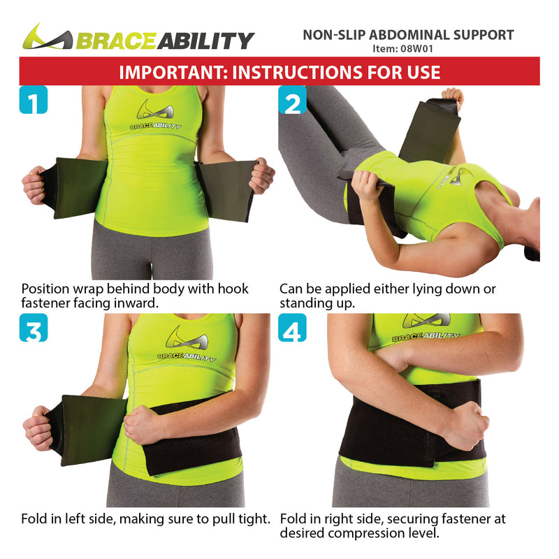 How to put on the non slip abdominal support instruction sheet