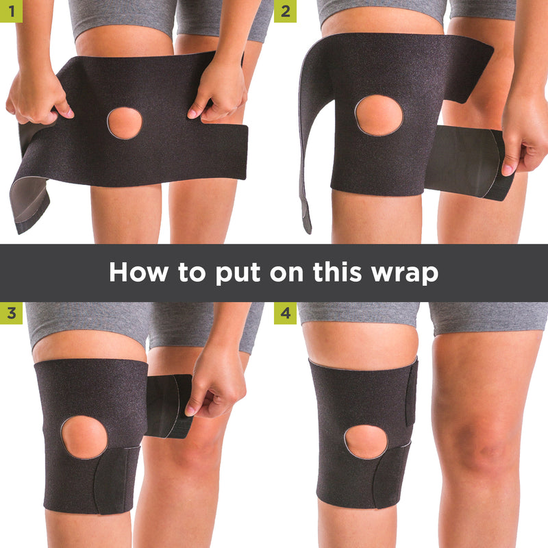 To apply this arthritis knee brace for running follow these 4-step instructions