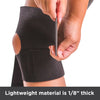 The lightweight material of this athletic knee wrap is 1/8-inch thick