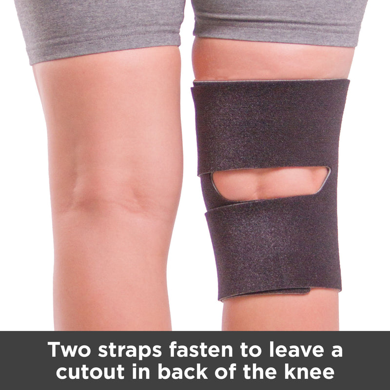Two straps fasten to leave a cutout in back of the knee