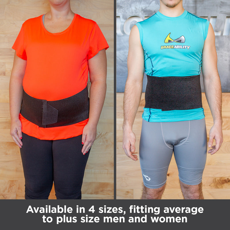 Abdominal binder is available in 4 sizes, fitting average to plus size men and women