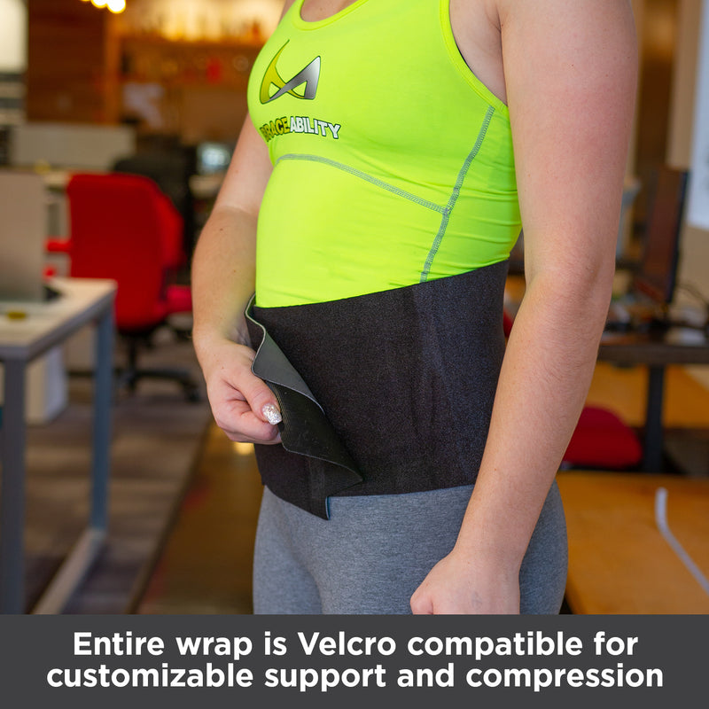 Entire abdominal wrap is Velcro compatible for customizable support and compression
