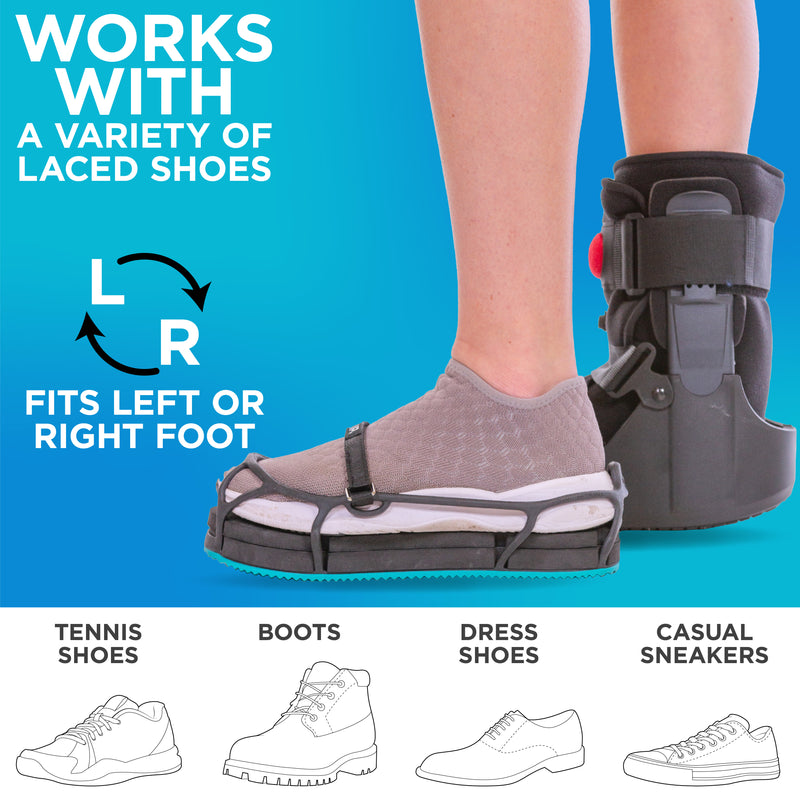 the even ups for shoes allow you to walk with a natural gait while wearing a medical shoe