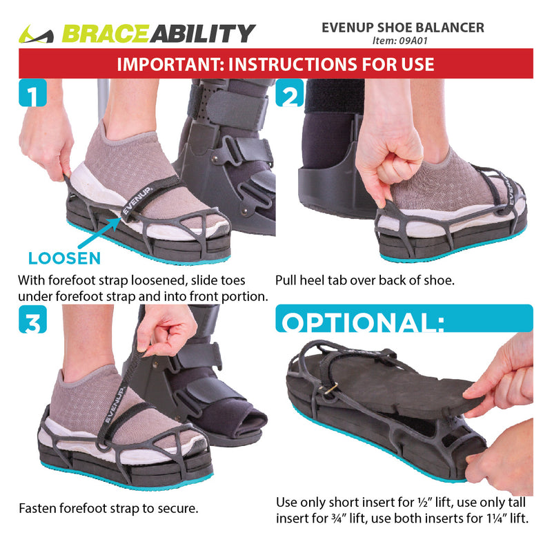 use the instruction sheet for the EVENup shoe balancer to apply the leveler on a tennis shoe