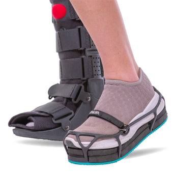 the EVENup shoe balancer keeps your hips level while wearing a walking boot