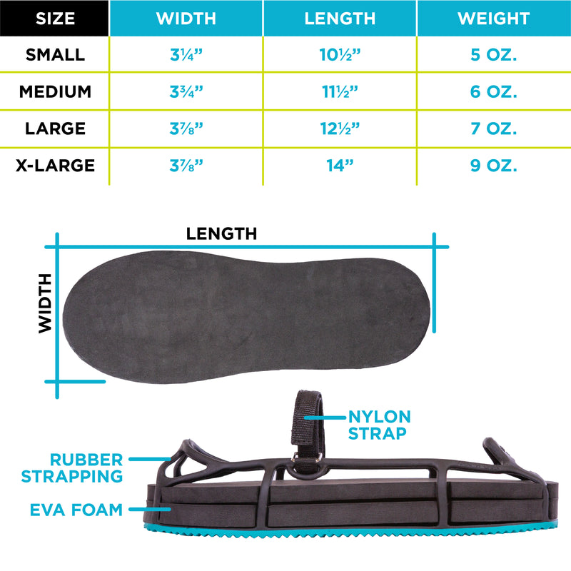 The evenup shoe lift for uneven legs has rubber strapping and a nylon strap