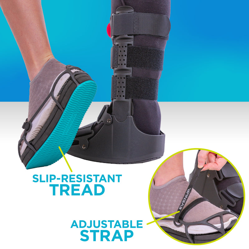 the EVENup shoe lift has slip-resistant treat and an adjustable strap for a customized fit