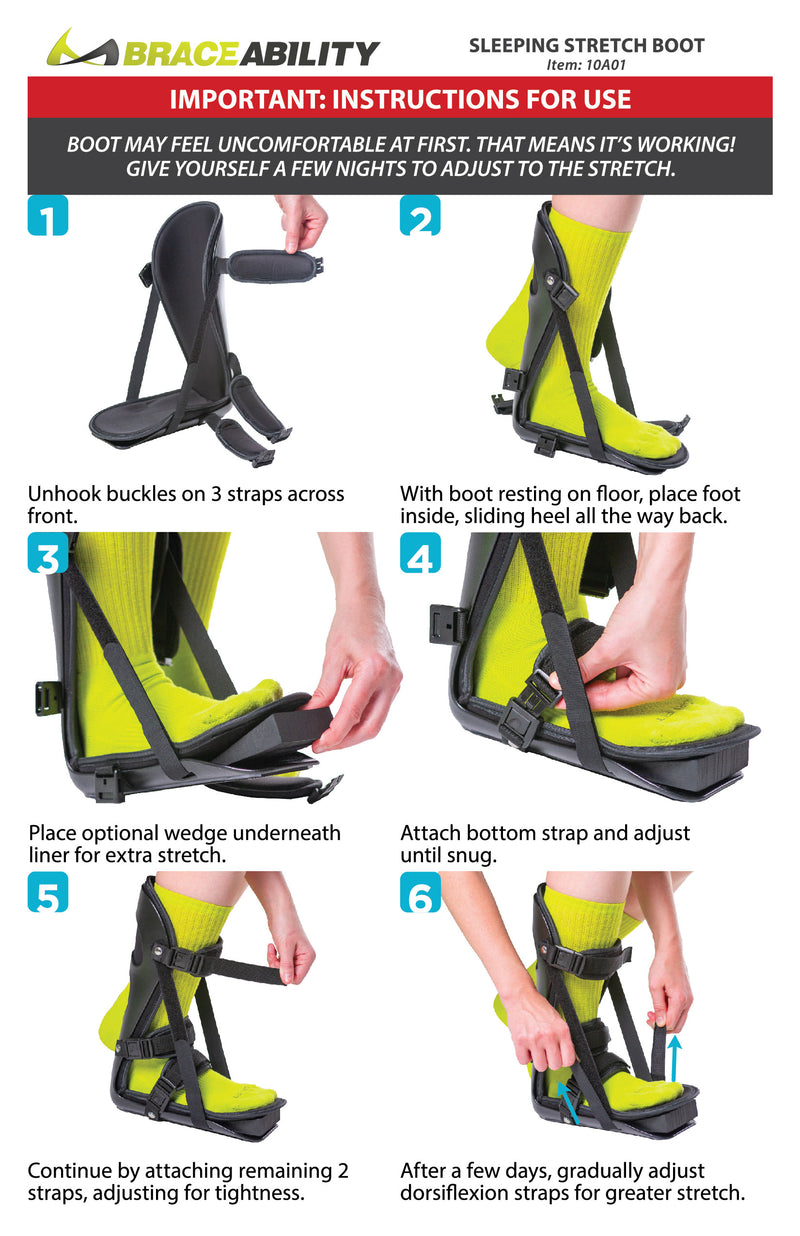 How to put on the sleeping stretch boot instruction sheet