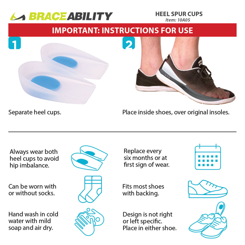 How to put on heel spur cups instruction sheet