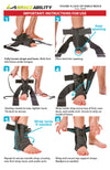 To apply this children's lace-up ankle brace with strap following our instruction sheet