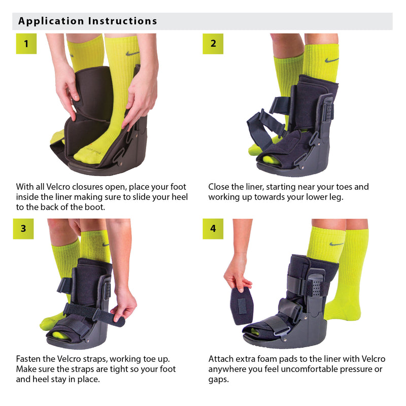 How to put on the short fracture boot instruction sheet
