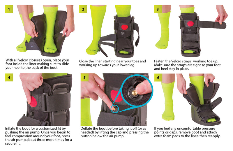 How to put on the short air walking boot instruction sheet