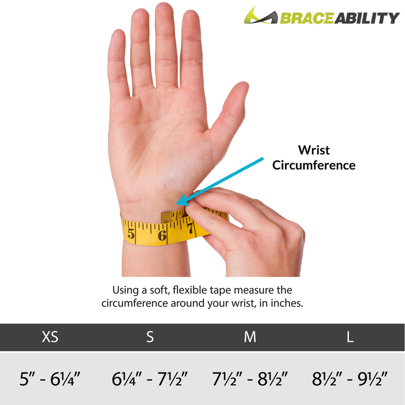 sizing for our thumb tendonitis wrist brace ranges from XS-L