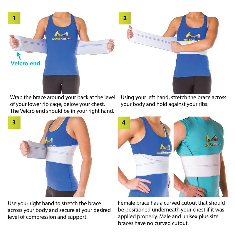 How to put on the broken rib brace instruction sheet