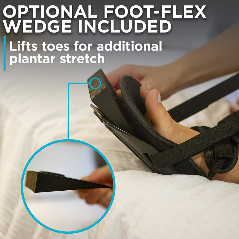 foot-flex wedge adds extra plantar flexion in the the achilles tendon boot