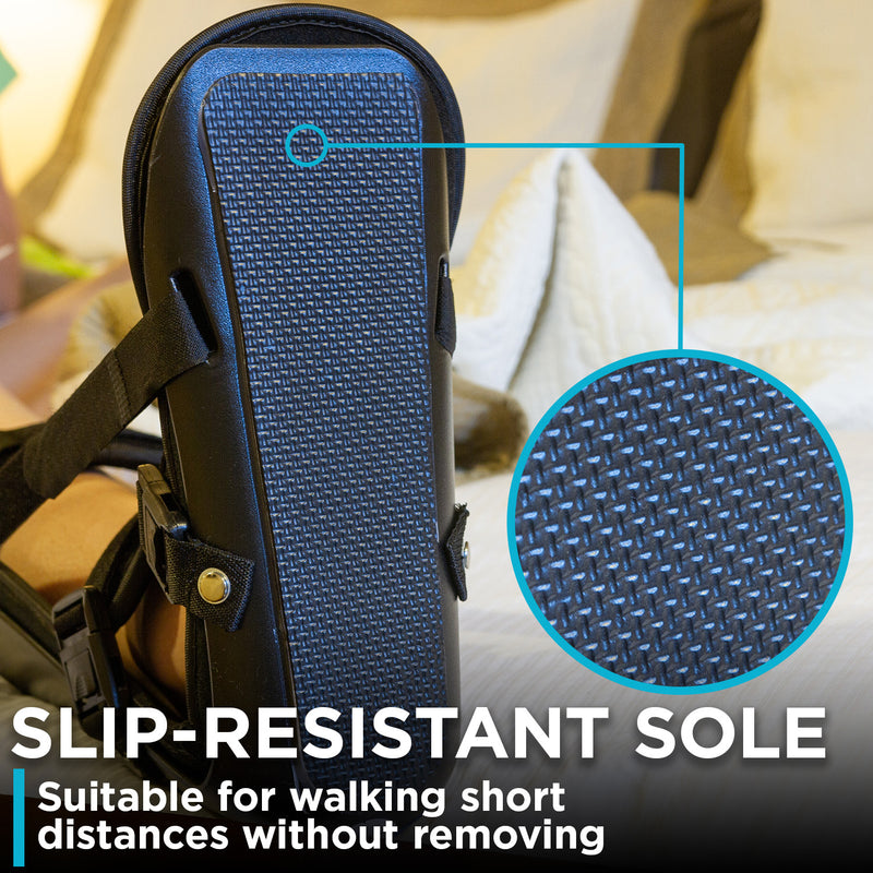 the slip resistant sole on the braceability sleeping stretch boot allows you to walk around the house