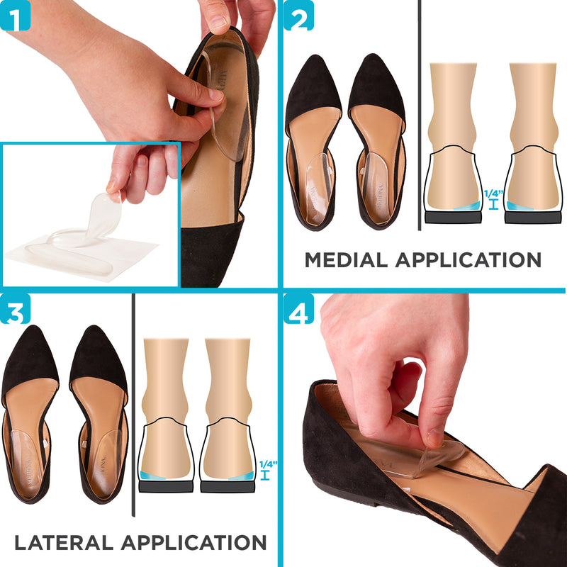 to put on the medial and lateral heel wedge inserts simply place them in the shoes