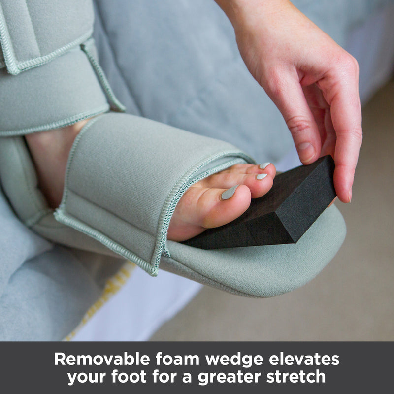 Removable foam wedge elevates your foot for a greater stretch