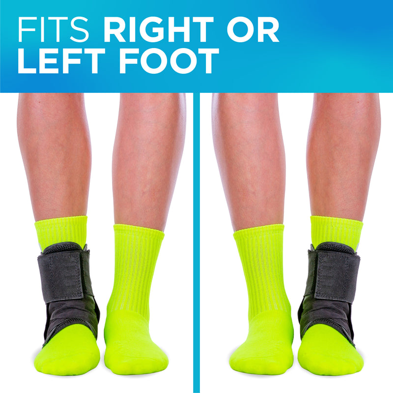 Our lace-up ankle brace can be worn on your left or right foot to treat a rolled ankle or sprain