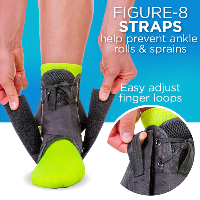 The figure-8 brace ankle support helps prevent lateral ankle pain while reducing chronic ankle instability