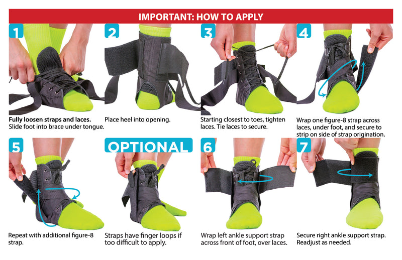 The instruction sheet for the lace up ankle brace is simple, slip the brace on, tie the laces, and wrap figure-8 straps
