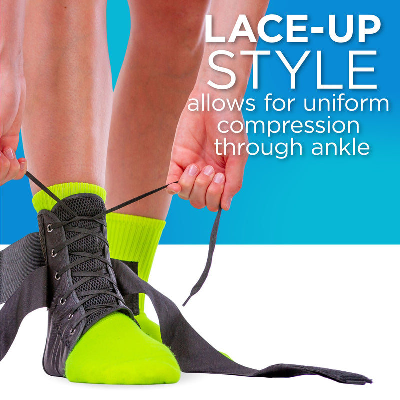 The BraceAbility lace-up ankle brace comes with shoe laces that help apply even compression all the way through your ankle