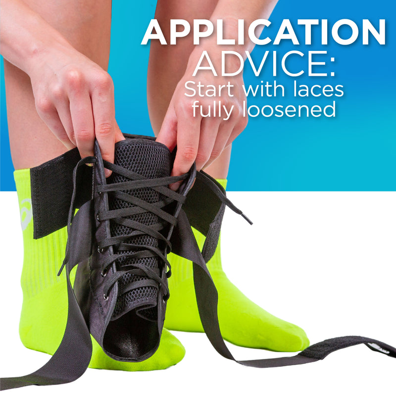 For the easiest application, loosen all of the laces in the high ankle brace so it can slide on easier