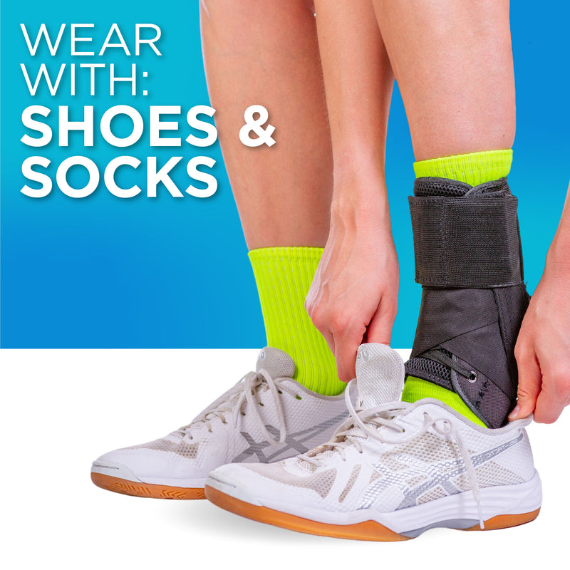 Our rolled ankle brace fits inside shoes and socks to prevent plus size ankle pain