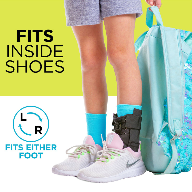 The youth ankle brace can be worn inside your kids shoes on their left or right foot