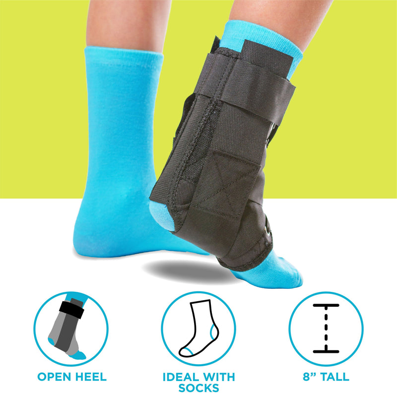Our open heel kids ankle support is eight inches tall and works best when over calf socks