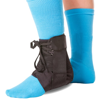 The BraceAbility lace up kids ankle brace comes in a black color with figure 8 straps