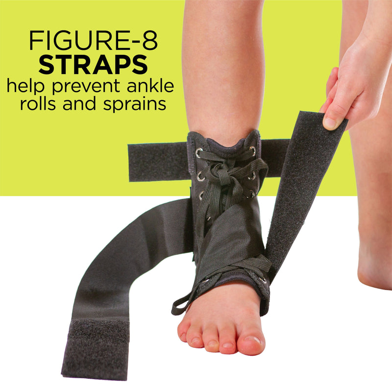 The pediatric figure 8 foot support wrap applies compression to sprains and strains