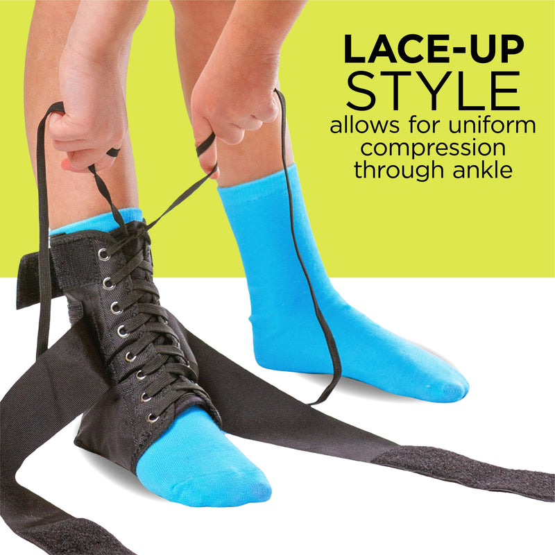 Our lace up ankle brace for kids has shoe strings to give you the most stable fit
