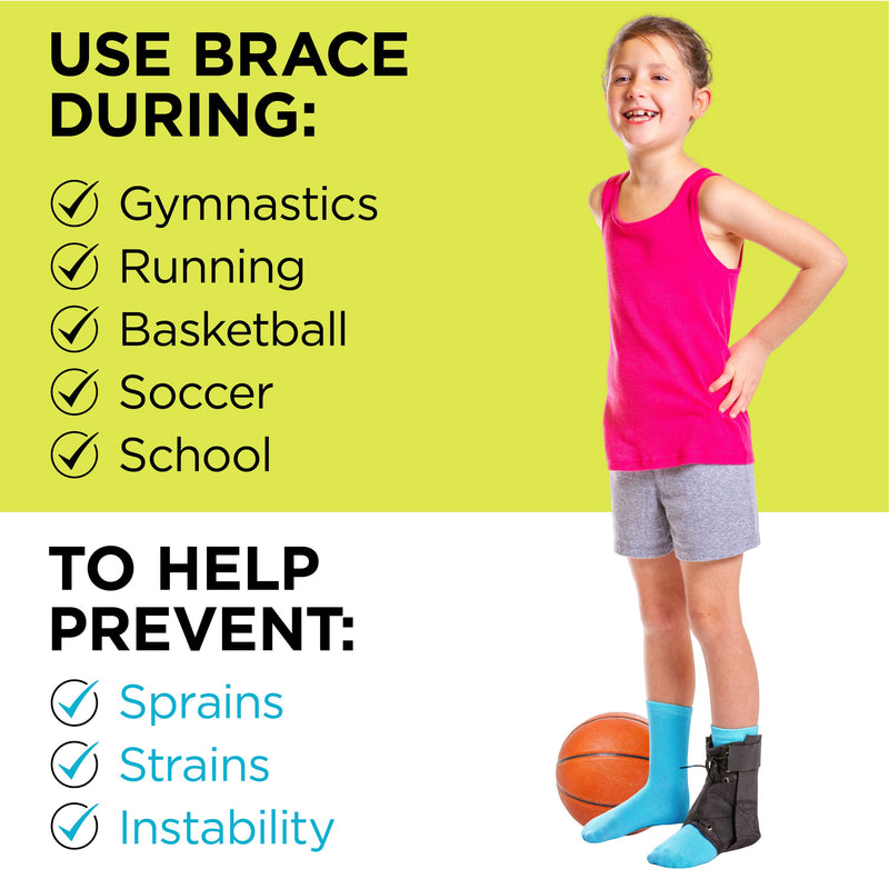 When your child wears an ankle brace during school or sports, it helps to prevent sprains and strains