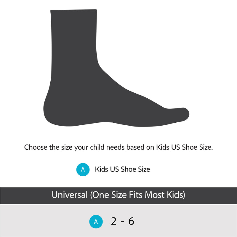 Our kids ankle brace comes in a one size fits most kids size fitting up to big kids size 6