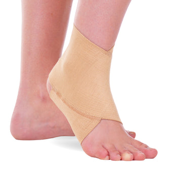 Elastic ankle brace to support sprained ankles or during gymnastics