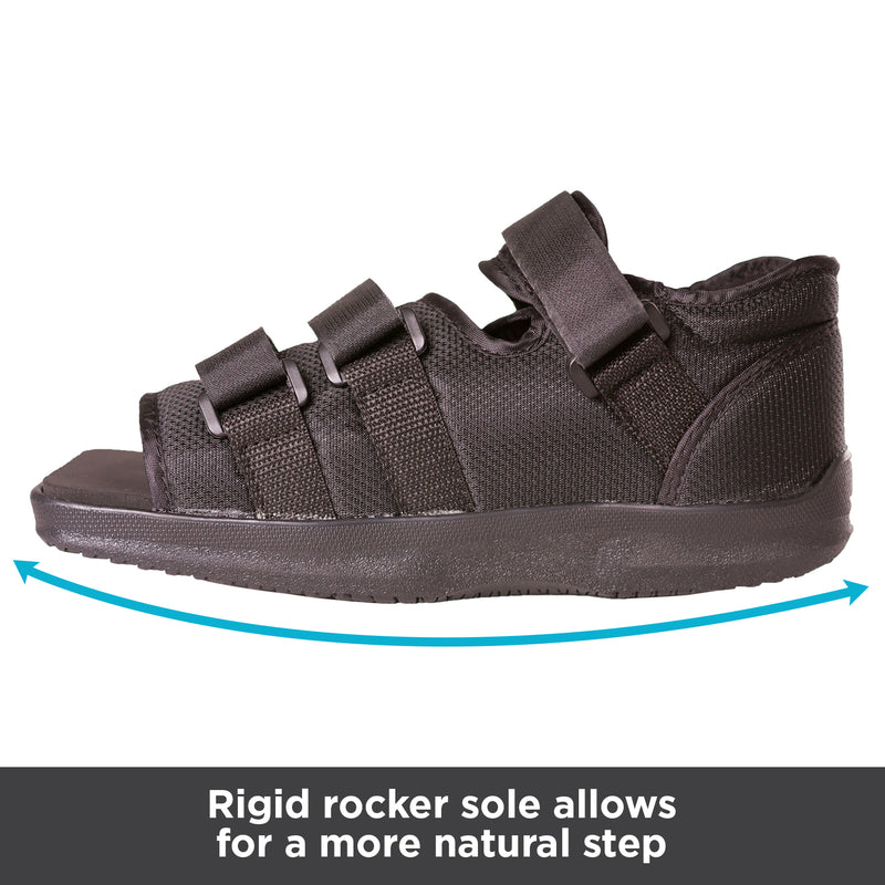 Rigid rocker sole allows for a more natural step while walking
