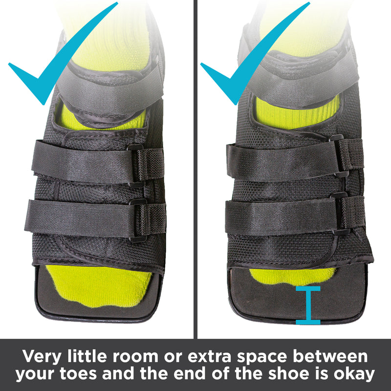 broken toe shoe can be worn with extra space in front of your toe