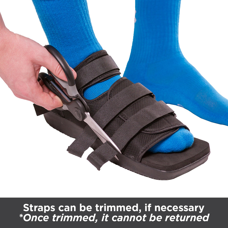 you can cut the straps in the walking shoe for after surgery so there isn't extra slack