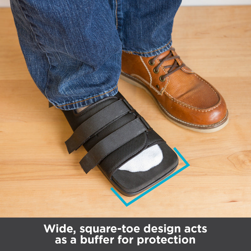 Wide, square-toe design acts as a buffer for foot and toe protection