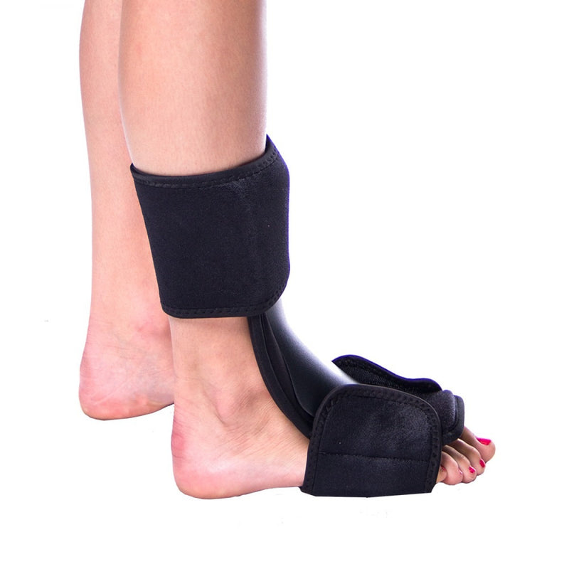 Nighttime splint for achilles tendon, calf stretching, and ankle dorsiflexion