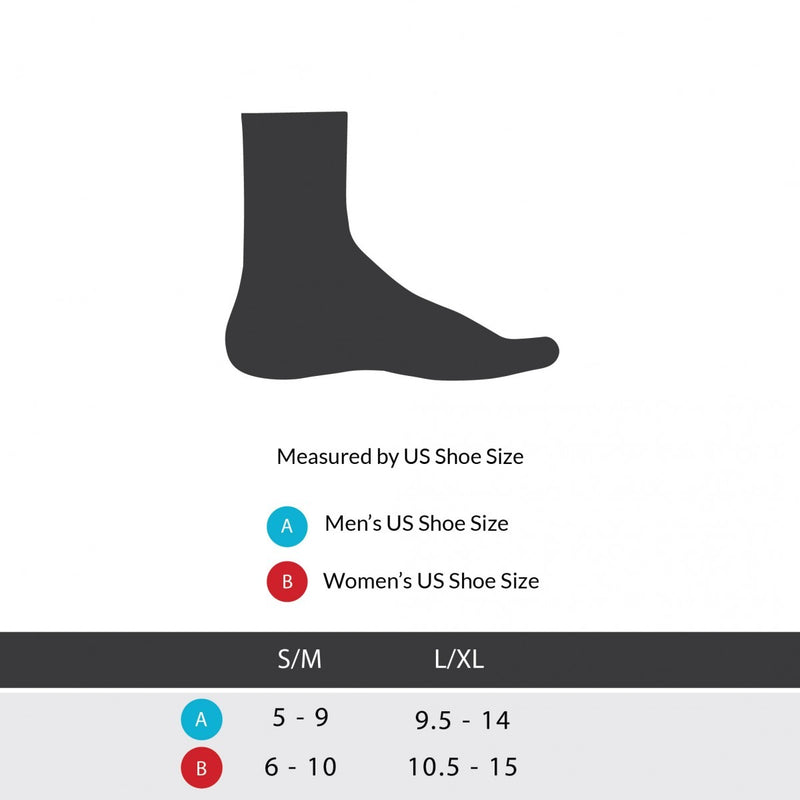 Sizing chart for dorsal night splint. Available in sizes S/M and L/XL.