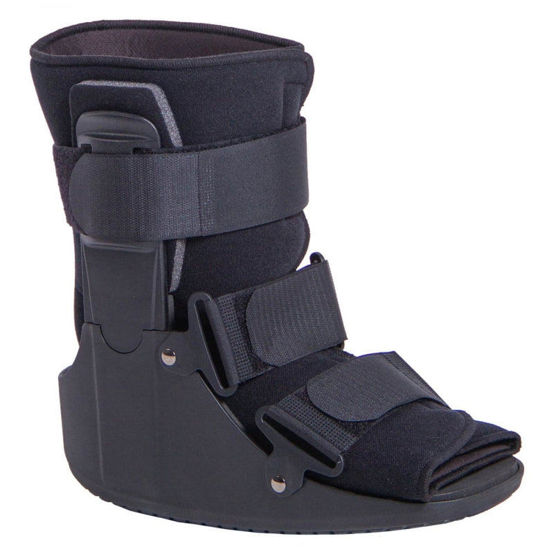 Stress fracture walking boot has a lightweight, low-profile design