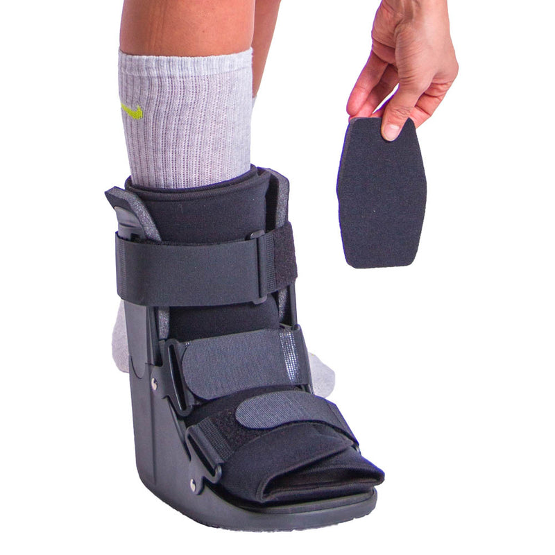 Metatarsal stress fracture shoe has additional padding for a secure fit while walking